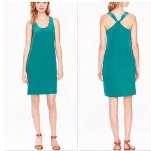 J.Crew emerald silk dress